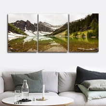 Laeacco Classic 3 Panel Mountain Wall Art Natural Posters and Prints Canvas Calligraphy Painting Home Living Room Decor