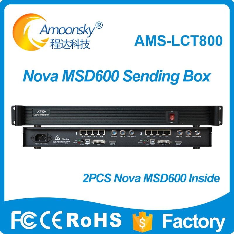 AMS-LCT800 contrôleur d'affichage LED boîte d'expéditeur à l'intérieur de 2 pièces Nova carte d'envoi MSD600 pour écran de affichage publicitaire d'extérieur LED