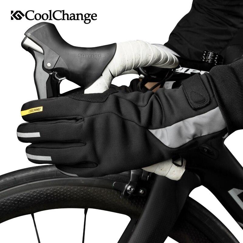 CoolChange Bike Handschuhe Winter Wasserdichte Warme Sport MTB Fahrrad Handschuhe GEL Lange Finger Bildschirm Touch Anti-Slip Radfahren Handschuhe