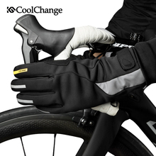 CoolChange Bike Gloves Winter Waterproof Warm Sports MTB Bicycle Gloves GEL Long Finger Screen Touch Anti-Slip Cycling Gloves