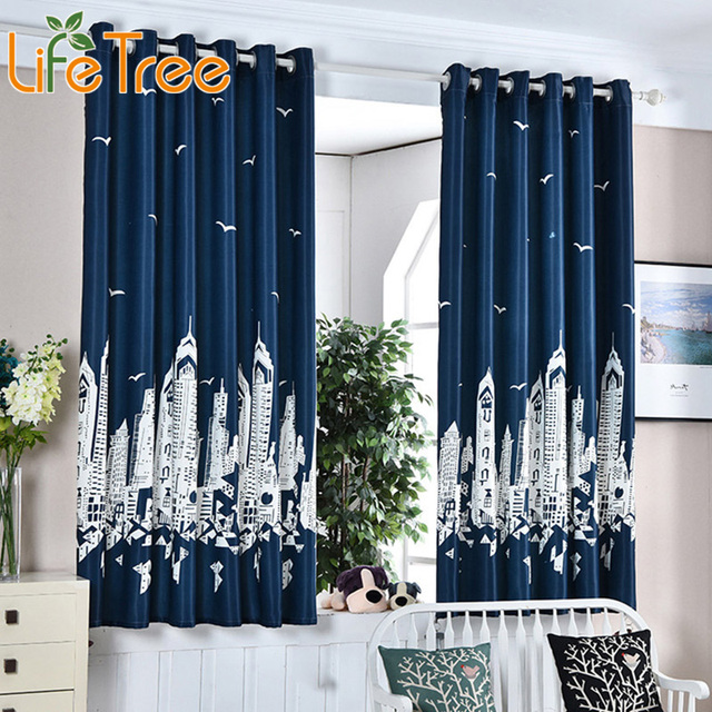 Navy Blue Thick Short Curtains In Kids Room Boy Bedroom Window ...