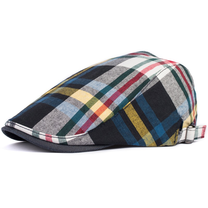 Cap Spring And Summer Fashion Hat British Style Color Large Plaid Beret The Trend Of Personality Men Cap Striped Casual