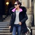Зимняя куртка женщин большой меховой с капюшоном ватные куртки женщины средней длины случайные хлопка-ватник утолщение зимнее пальто женщины