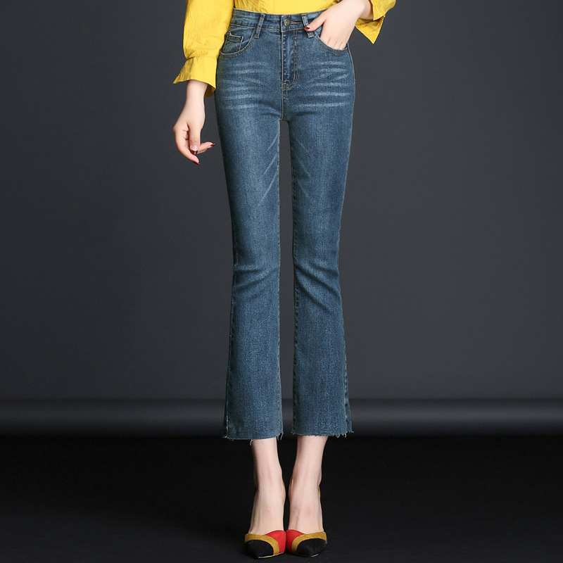 MUM/модные женские леггинсы с завышенной талией и вышивкой, обтягивающие Стрейчевые Узкие повседневные джинсы 1MF023-041