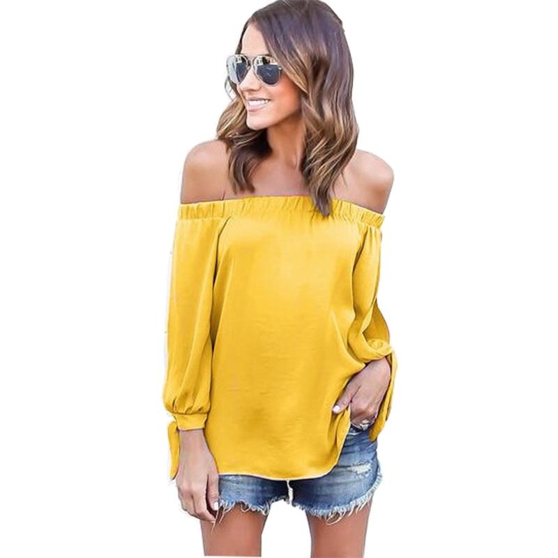 Mujeres blusa de gasa 2018 personalizar cualquier color nueva correa de hombro atractiva gasa manga larga punto blusa feminina Vestidos QW1