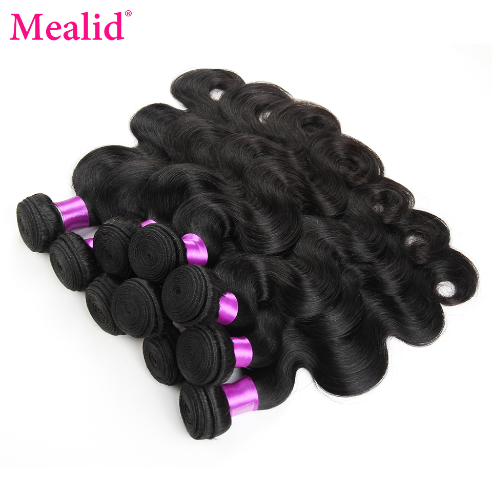 Mealid Peruvian Body Wave Bundles Human Hair Weave Bundles 10pcs Natural Color Non-remy Hair Extension Bundles