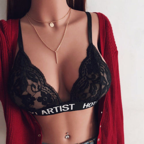 Hot See Through Women Sexy Lingerie Lace Flowers Push Up Top Bra Crop Top Underwear Sleepwear