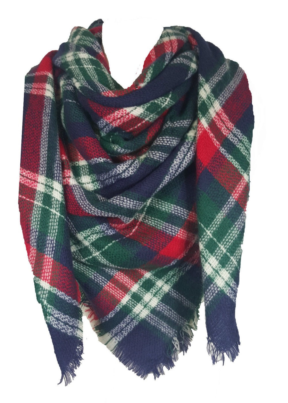 Unisex Ladies Mens Square font b Tartan b font Scarf Shawl Wrap Pashmina Winter Warm BU