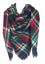 Unisex Ladies Mens Square Tartan Scarf Shawl Wrap Pashmina Winter Warm-BU/RD/GRN