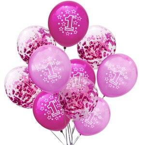 Image 4 - LAPHIL ベビーシャワー 10 個ラテックス紙吹雪バルーン少年少女 1st 誕生日風船私の最初の誕生日パーティーの装飾私は AM 1
