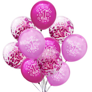 Image 4 - LAPHIL Baby Shower, 10 шт., латексные детские шары для 1 го дня рождения мальчиков и девочек, украшения для первого дня рождения, дети, я один