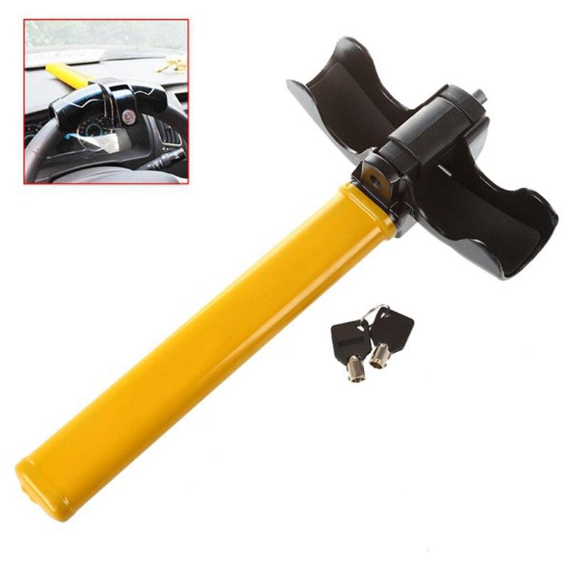 Heavy Duty Anti Theft Rotary Security Safe VAN Car Steering Wheel Lock Universal Yellow Auto Accessories