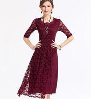 Nieuwe Kanten Jurk Mode Size Vrouwen Grote Kleding Fold Merk Geplooide Jurken