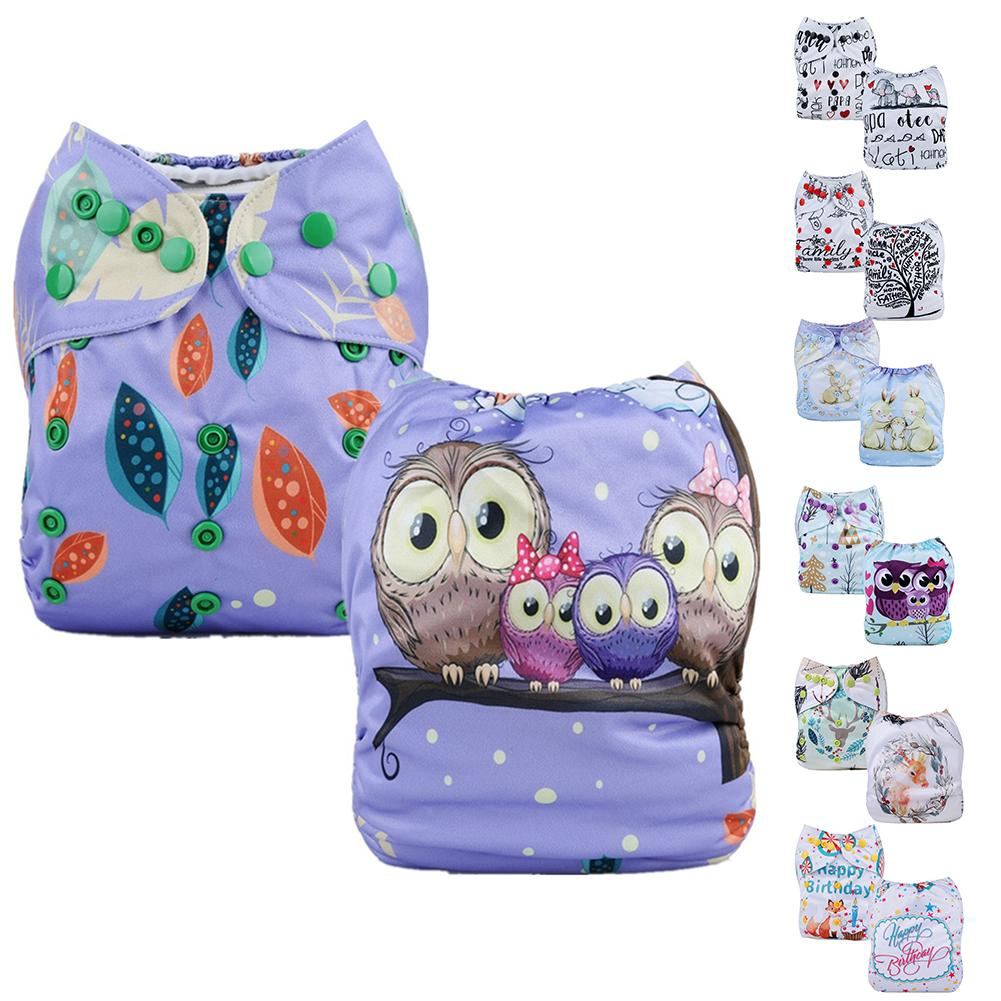 Cute Print Washable Cloth Diaper Cover Adjustable Nappy Reusable Cloth Diapers For 3-15kg Baby