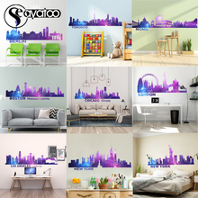 City Silhouette Cityscape Vinyl Wall Sticker Decal Landscape Skyline Home Decor Stickers one life live it offroad offroader mountain silhouette stickers sticker
