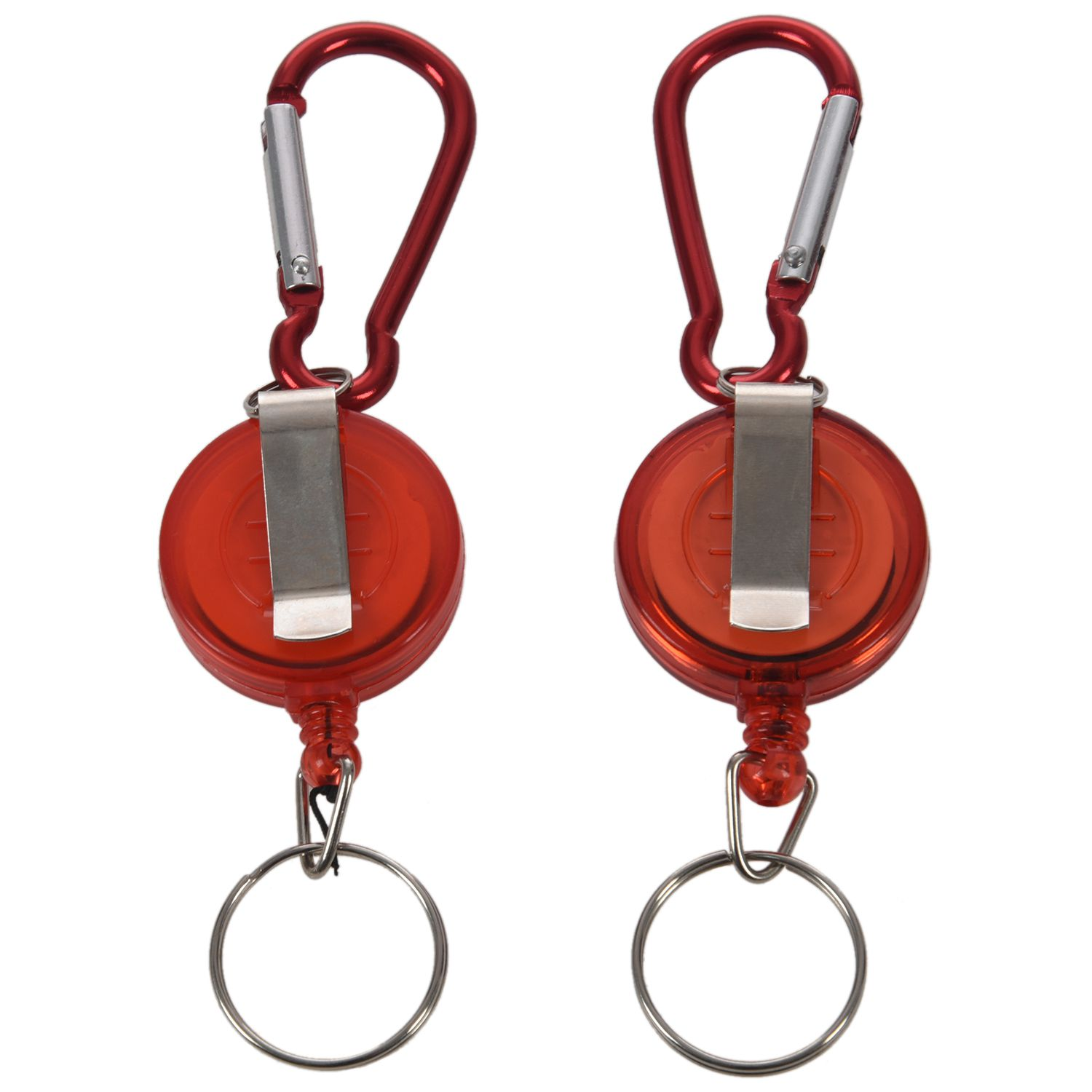 2 PCS BADGE REEL - RETRACTABLE RECOIL YOYO SKI PASS ID CARD HOLDER KEY CHAIN