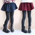 Crianças Leggings Meninas Outono Inverno 2016 Moda Estilo Casual de Algodão Falso 2 Peças Culottes Calças Sólidos Crianças das Meninas de Roupas