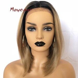 Perruque Bob Lace Front Wig synthétique 14 pouces-Maycaur   Perruque ombré Blonde à lisse courte résistante à la chaleur pour femmes