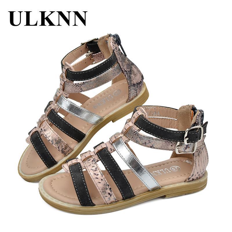 ULKNN Children Shoes Rome Microfiber Flat Buckle Beach Shoes Gladiator Girls Sandals Kids Summer Shoes For Girls Casual Sandals