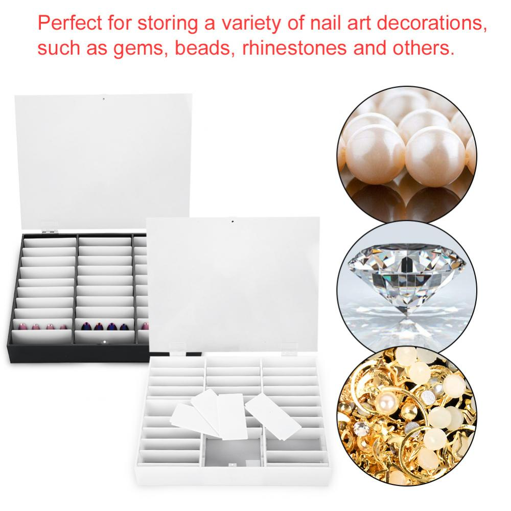 33 grids Empty Nail Tip Makeup Organizer Storage Box Nail Art Rhinestones Bead Container Fake Nail Display Case Manicure Tool