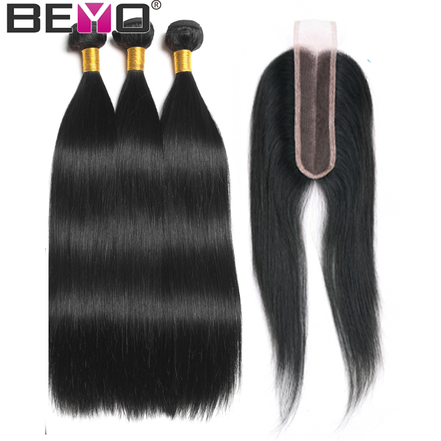 Straight Hair Bundles With 2X6 Closure Brazilian Hair Weave Bundles Human Hair Bundles With Closure Non