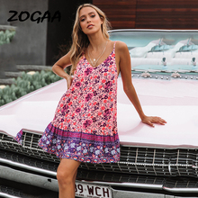 ZOGAA Elegant Women Summer Dress Bohemian Floral Print Strapless Ruffled Robe Sexy Spaghetti Strap Ladies Holiday Dresses 2019