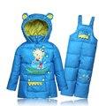 Bebé de la manera niños y niñas chaqueta de invierno Pato Abajo con capucha de Los Niños ropa de los cabritos determinados desgaste de la nieve espesa capa pantalón dos piezas traje