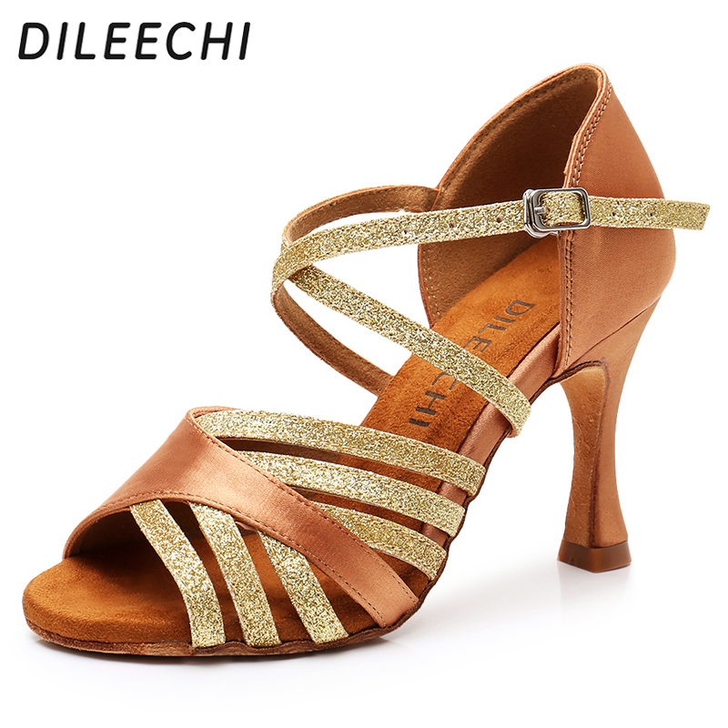 DILEECHI Latin Dance Shoes Women Silk Satin New Bronze Salsa Party Ballroom Dance Shoes heel 9cm Seamless back ladies sneaker-in Dance shoes from Sports & Entertainment on AliExpress - 11.11_Double 11_Singles' Day 1