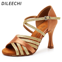 DILEECHI Latin Dance Shoes Women Silk Satin New Bronze Salsa Party Ballroom Dance Shoes heel 9cm Seamless back ladies sneaker