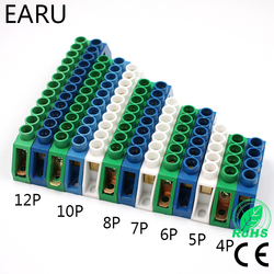 Bleu blanc vert pont conception zéro ligne 4-12 pôle vis laiton cuivre mise à la terre bande bornier connecteur terre et neutre