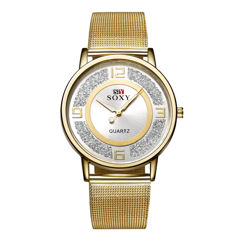 New SOXY Brand Casual Clock Female Watch Fashion Gold Wristwatches Stainless Steel Luxury Quartz Women Watches Ladies Watch Hour 2017 new brand watch quartz ladies gold fashion wrist watches diamond stainless steel women wristwatch girls female clock hours