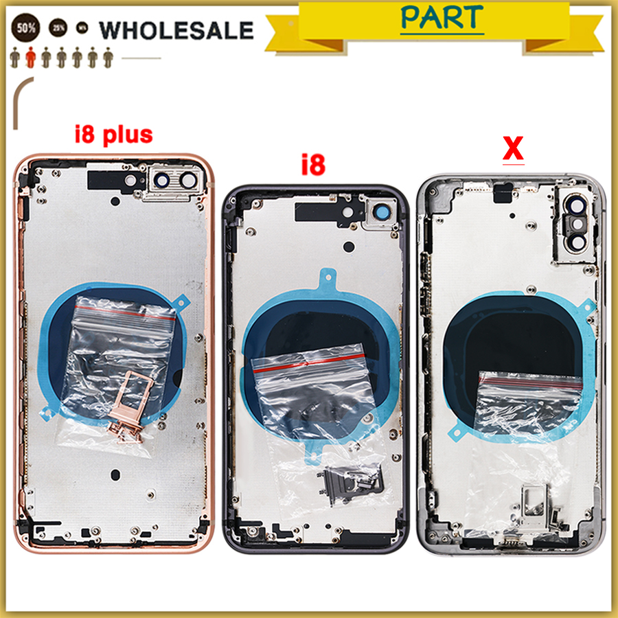 Full Housing Case For Iphone 8 8G 8 Plus 8P X Battery Back Cover Door Rear Cover + Chassis Middle Frame No Flex Cable(China)