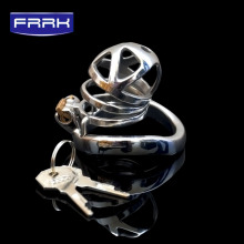 FRRK Openwork carving 304 Stainless Steel Spiral Penis cage Male Chastity Device Cock Cage metal Belt Sex Toys