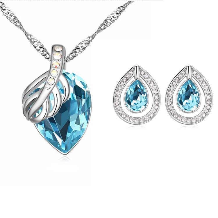 FREIES VERSCHIFFEN Neue Ankunft 2015 Neue Stil Stud Ohrringe Kristall Anhänger & Halskette Schmuck-Sets Für Frauen