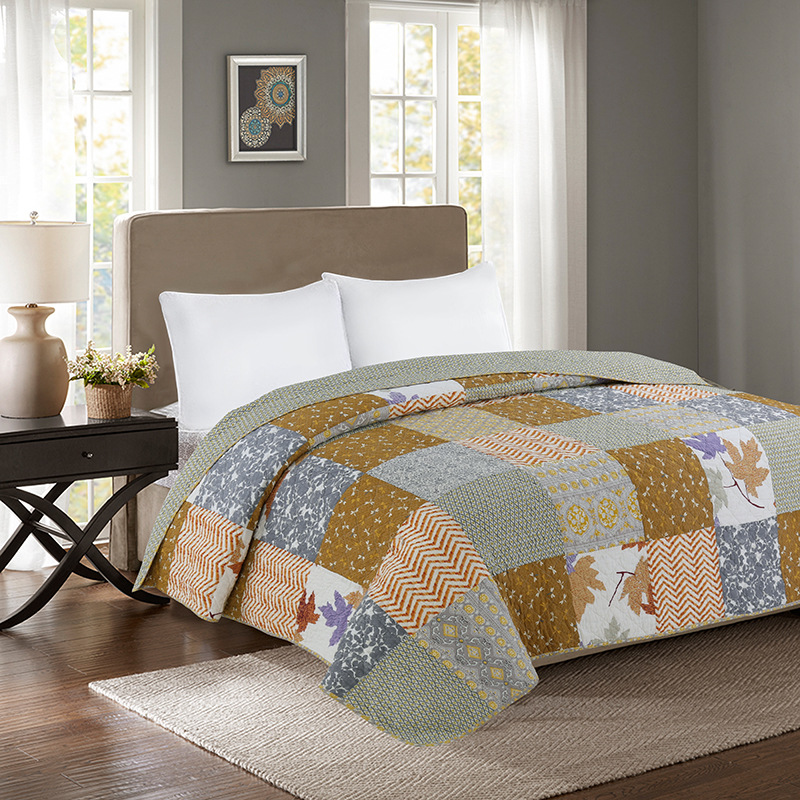 Light Grey Quilted Quilt Set Queen Size 1Pc Breathable 100 Cotton Patchwork Bedspread Set Good Stitched