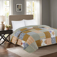 Light Grey Quilted Quilt Set Queen Size 1Pc Breathable 100%Cotton Patchwork Bedspread Set Good Stitched Bed Coverlet Bed Cover