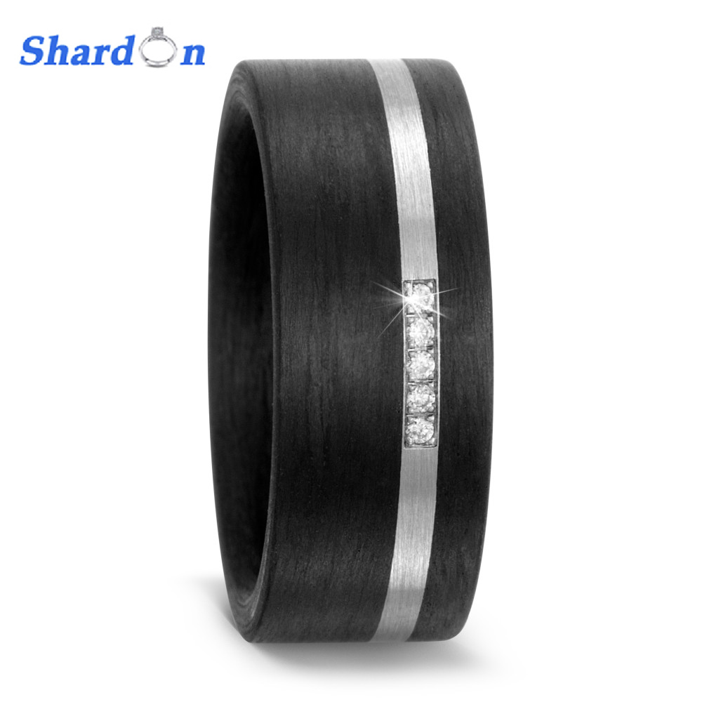 Carbon Fiber Diamontrigue Jewelry: SHARDON 2017 Black Flat Solid Carbon Fiber Ring Inlay Pure