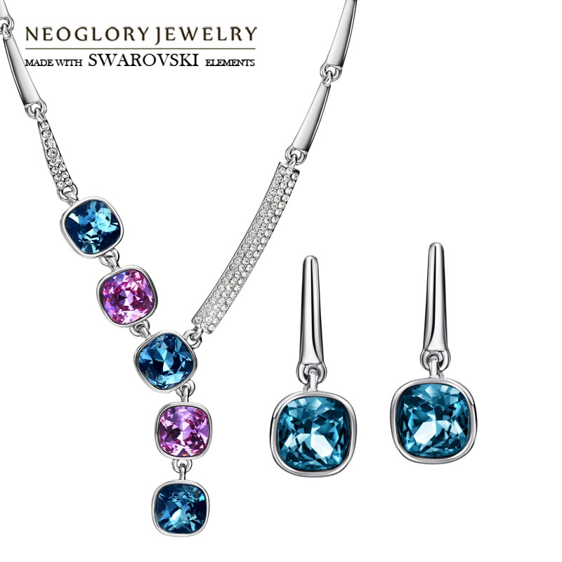 Neoglory Austria Rhinestone & Crystal Jewelry Set Multicolored Exquisite Trendy Lady Gift Sale Luxuriant Necklaces & Earrings yoursfs dangle earrings with long chain austria crystal jewelry gift 18k rose gold plated