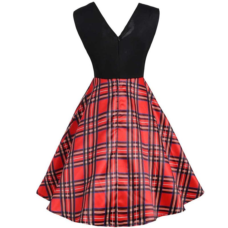 Elegant Plaid Tartan Dress Women Vintage 50s 60s Square Collar Retro Swing  Rockabilly Pin Up Dress Audrey Hepburn Robe Vestidos-in Dresses from  Women s ... 5cc94d1c5
