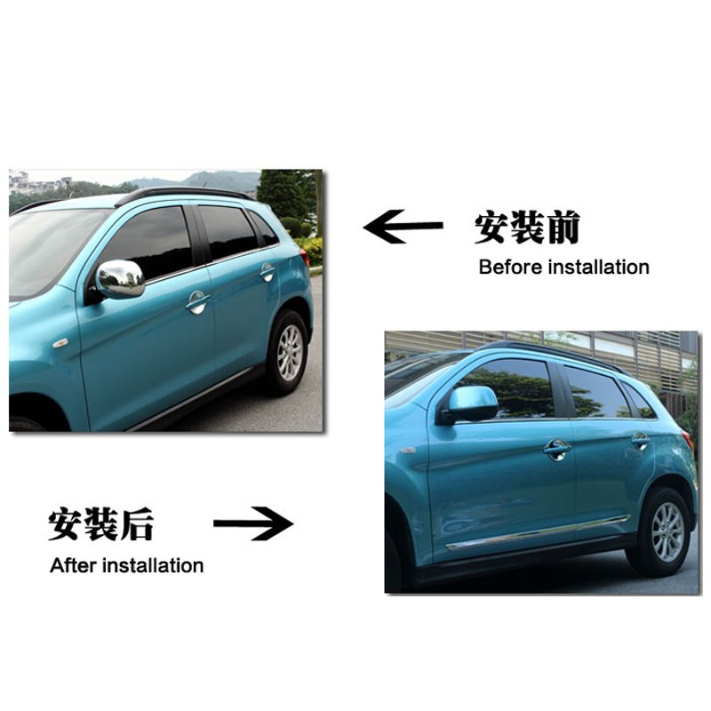 ФОТО Fit For Mitsubishi ASX 2013 2014 2015 Stainless Steel Side Door Body Molding Streamer Cover Trim Door Decoration Car Styling