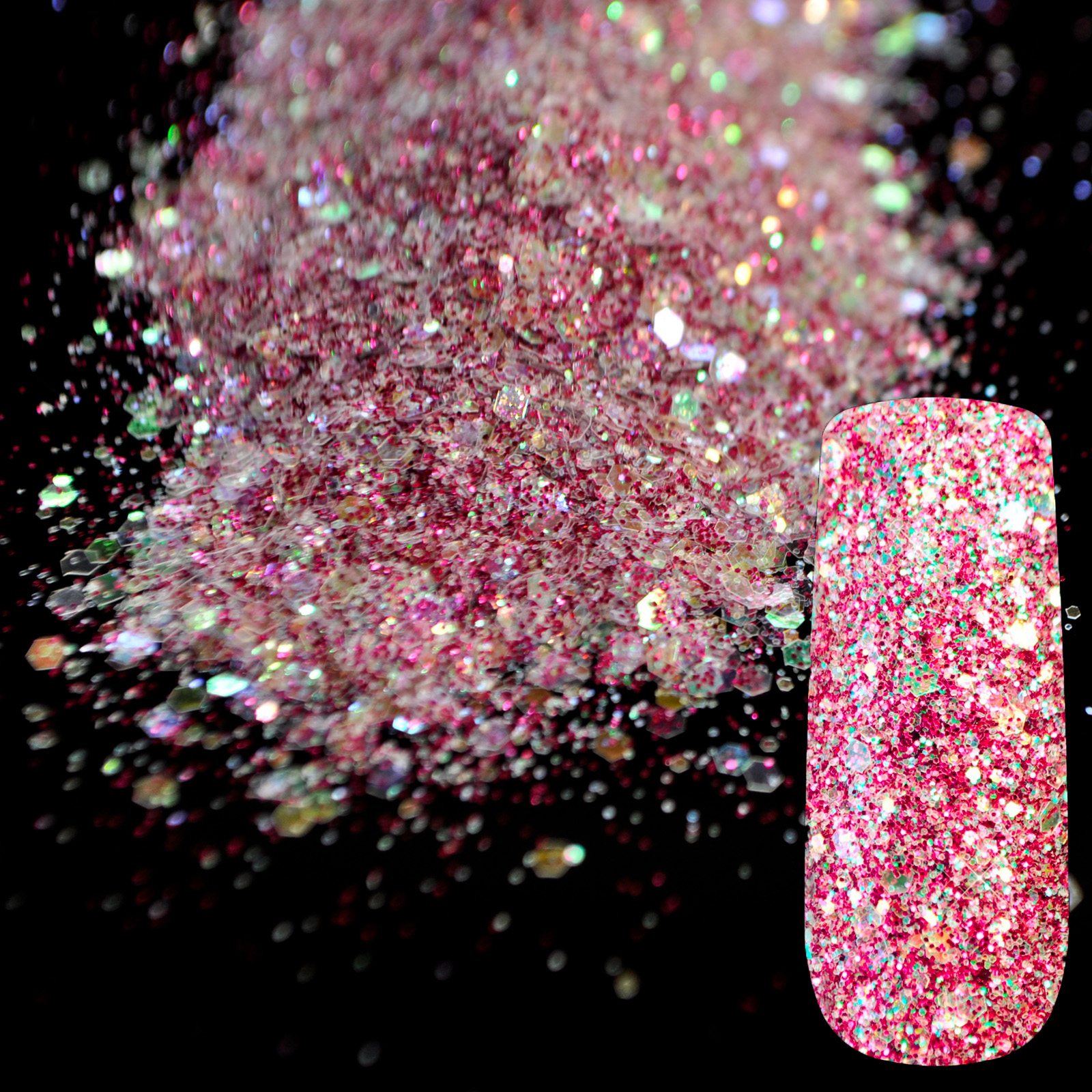 Purple Rainbow Glitter Mix UV Nail Art Glitter Acrylic Powder Pentagon Sequins Sheet Nail Supplies Decoration 275