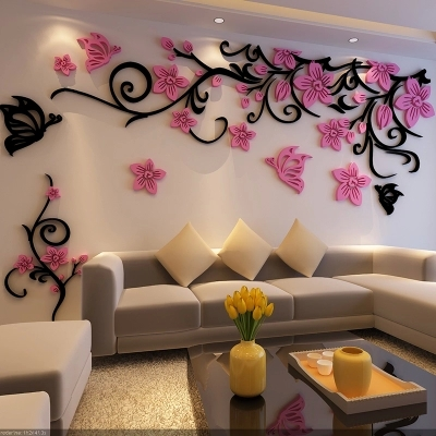 free shipping 1.8 * 0.54m flower vine 3d stereo acrylic wall