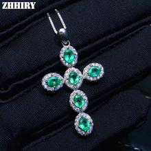 цена ZHHIRY Real Natural Emerald Gemstone Necklace Pendant Genuine 925 Sterling Silver Cross Shape Pendants Fine Jewelry онлайн в 2017 году