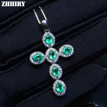 ZHHIRY Real Natural Emerald Gemstone Necklace Pendant Genuine 925 Sterling Silver Cross Shape Pendants Fine Jewelry - DISCOUNT ITEM  35% OFF All Category