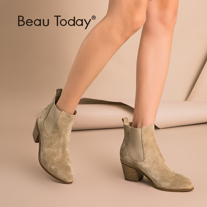 BeauToday Women Chelsea Boots Genuine Leather Cow Suede Pointed Toe Ankle Length High Heel Ladies Shoes