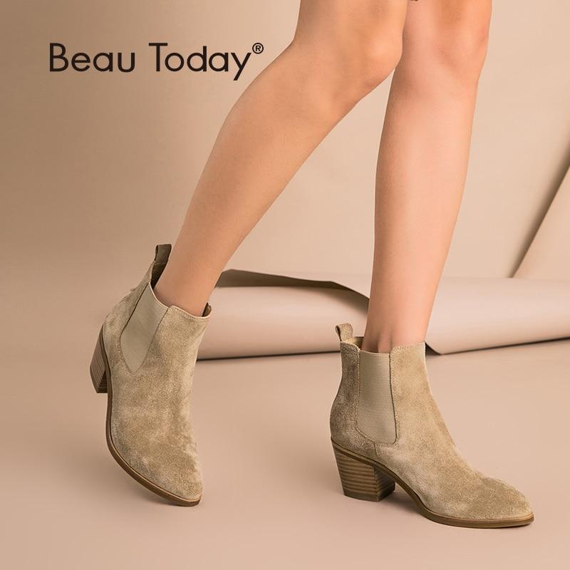 Beautoday chelsea botas de couro genuíno camurça vaca dedo do pé apontado tornozelo comprimento senhoras sapatos de salto alto artesanal 03341