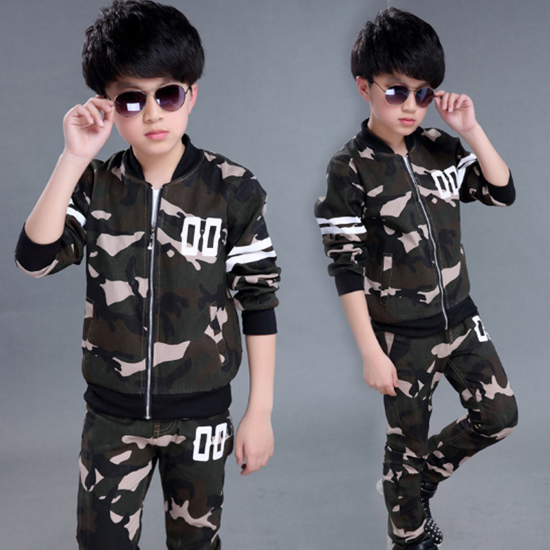 Boys Girls Suits 2017 Spring Autumn Camouflage zipper coat suits clothes for kid casual sportwear fashion Children's Sets Qcs060 2014 spring autumn new fashion girls sports suits zipper coat trousers flowers print big girl clothes sets children sportswear