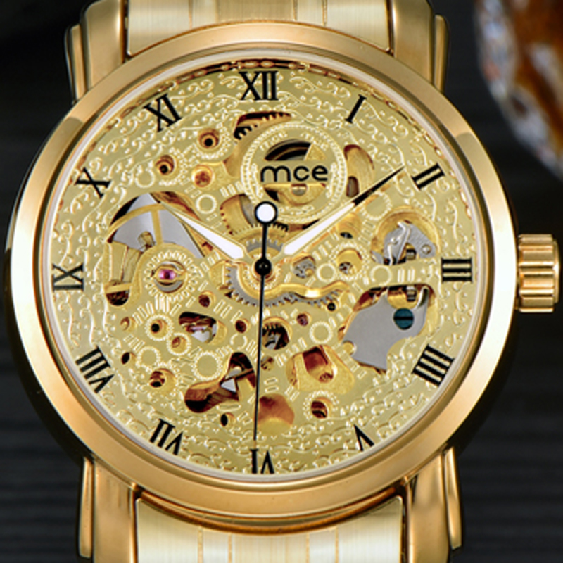 Relogio Masculino Montre Homme Orologio Uomo Automatic Mechanical Watch Male Watch Gold Wristwatches Men MCE Watches 48 mens branded luxury fashion watch men automatic ultra thin gold full steel mesh watches men dress mechanical watch orologio uomo