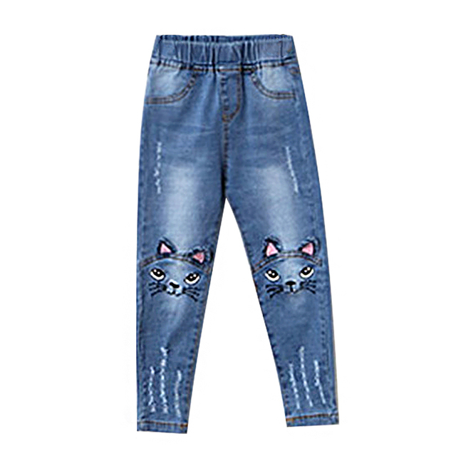 Girls' Cat Printed Jeans with Elastic Waist