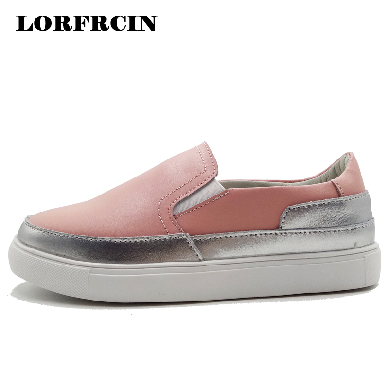 437c960e462d Women s Shoes Loafers Genuine Leather Flats For Women Sneakers Ladies Slip  On Platform Casual Shoes Woman